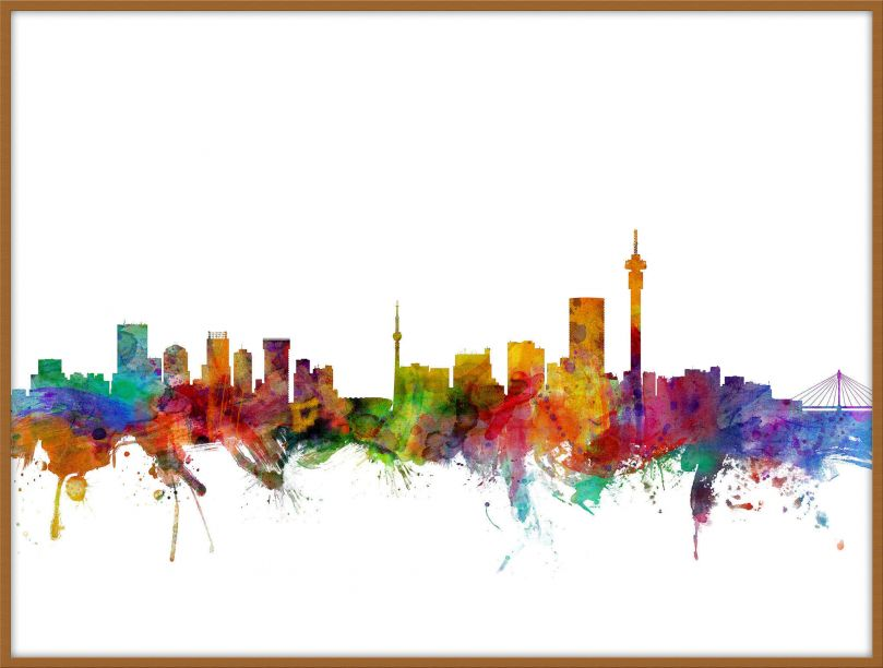 Large Johannesburg South Africa Watercolour Skyline (Pinboard & wood frame - Teak)