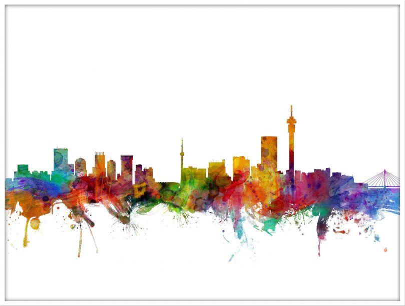 Large Johannesburg South Africa Watercolour Skyline (Wood Frame - White)
