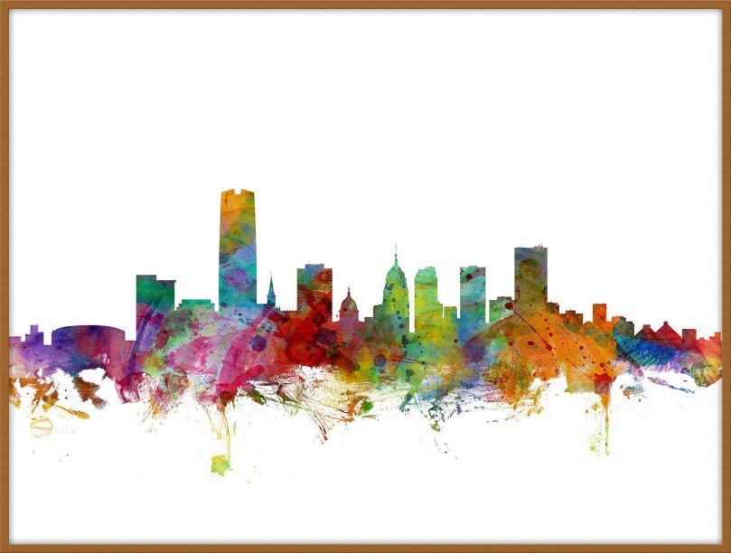 Large Oklahoma City Watercolour Skyline (Pinboard & wood frame - Teak)