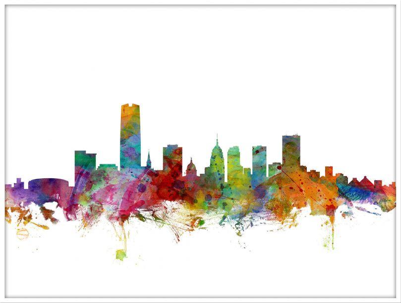 Large Oklahoma City Watercolour Skyline (Wood Frame - White)