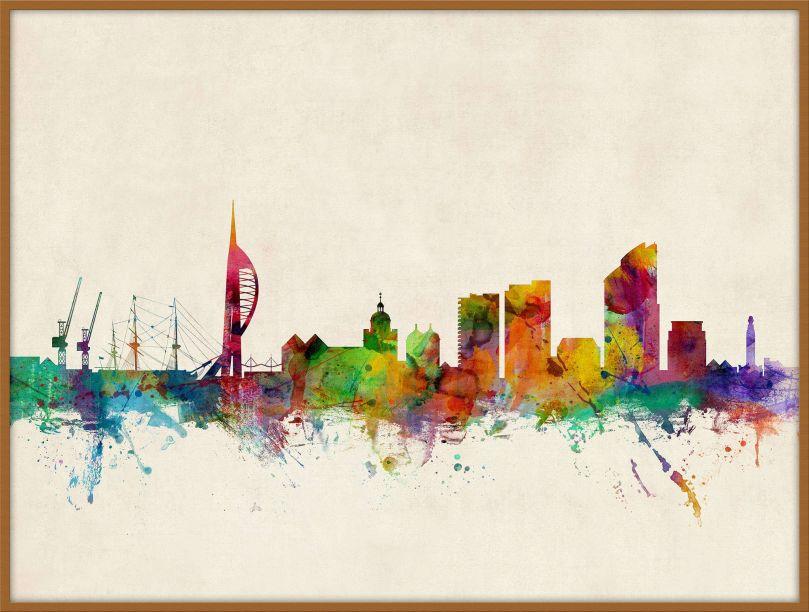 Large Portsmouth England Watercolour Skyline (Wood Frame - Teak)