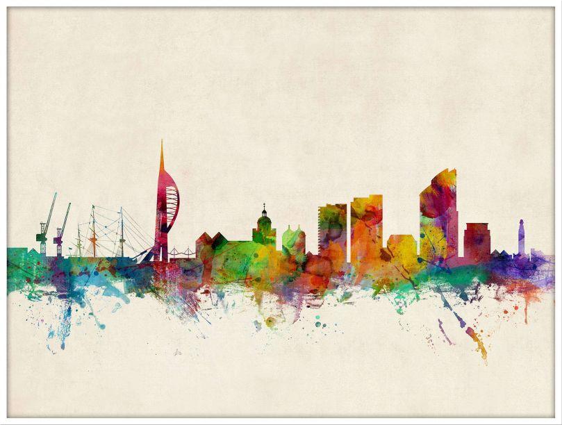 Large Portsmouth England Watercolour Skyline (Wood Frame - White)