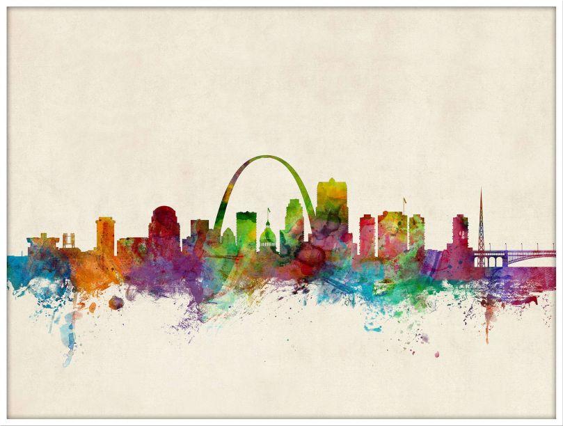 Large St Louis Missouri Watercolour Skyline (Wood Frame - White)