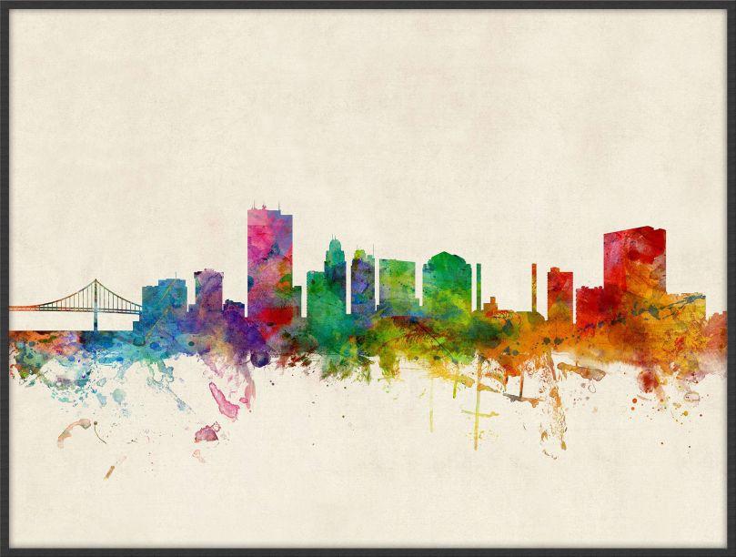 Large Toledo Ohio Watercolour Skyline (Pinboard & wood frame - Black)