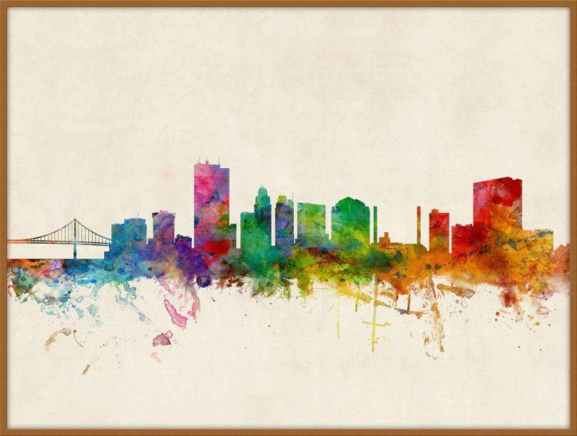Large Toledo Ohio Watercolour Skyline (Pinboard & wood frame - Teak)