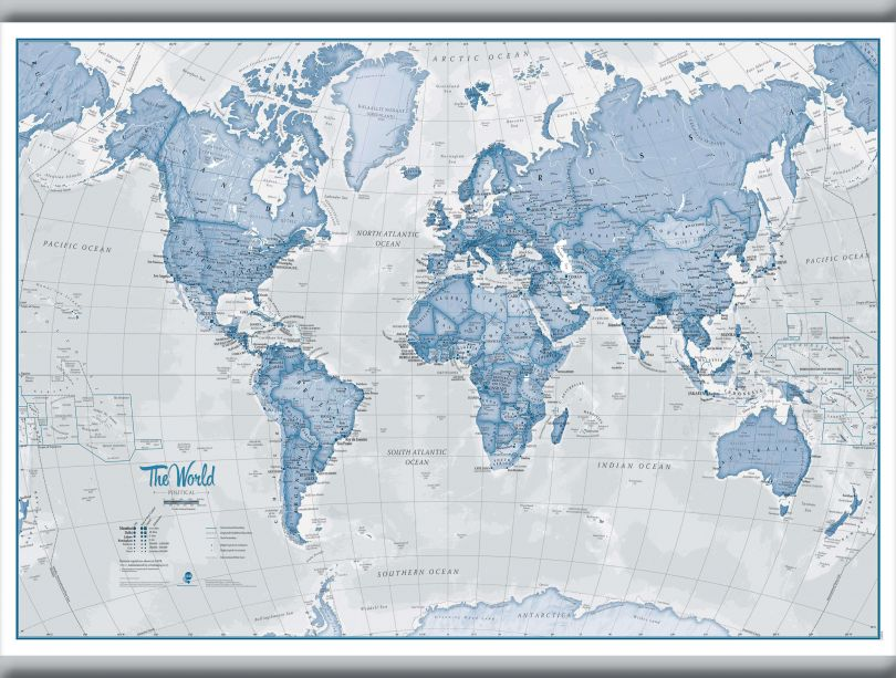 Small The World Is Art - Wall Map Blue (Hanging bars)