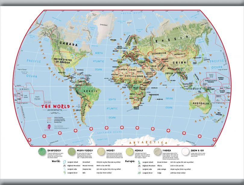 Small Primary World Wall Map Environmental (Hanging bars)