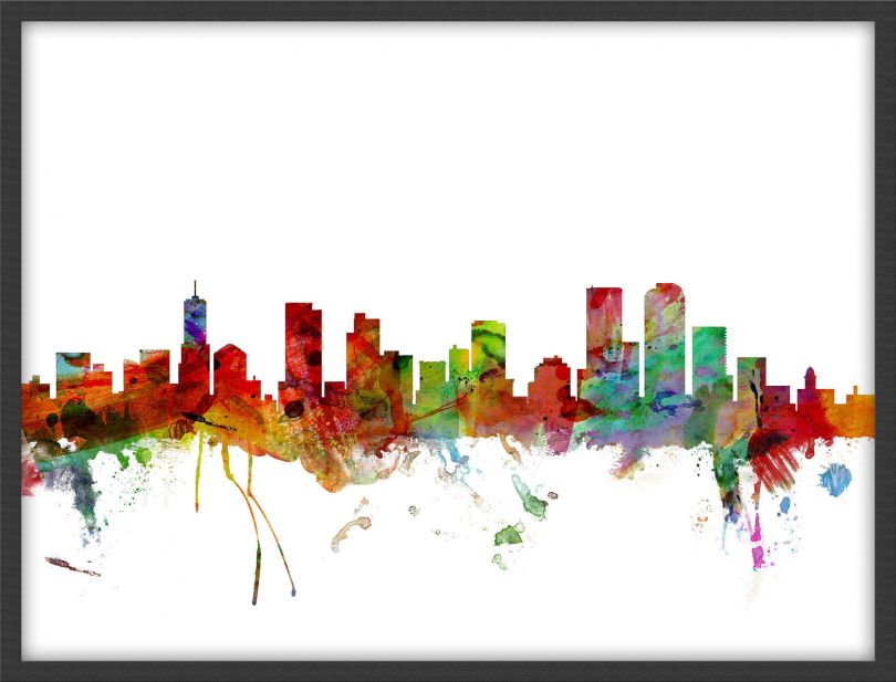 Medium Denver Watercolour Skyline (Wood Frame - Black)