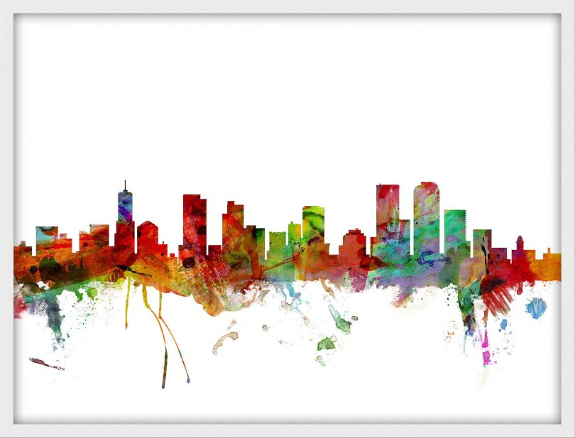 Small Denver Watercolour Skyline (Pinboard & wood frame - White)