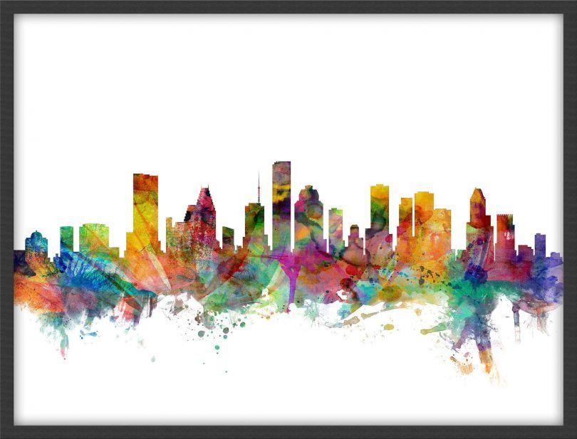 Medium Houston Texas Watercolour Skyline (Wood Frame - Black)