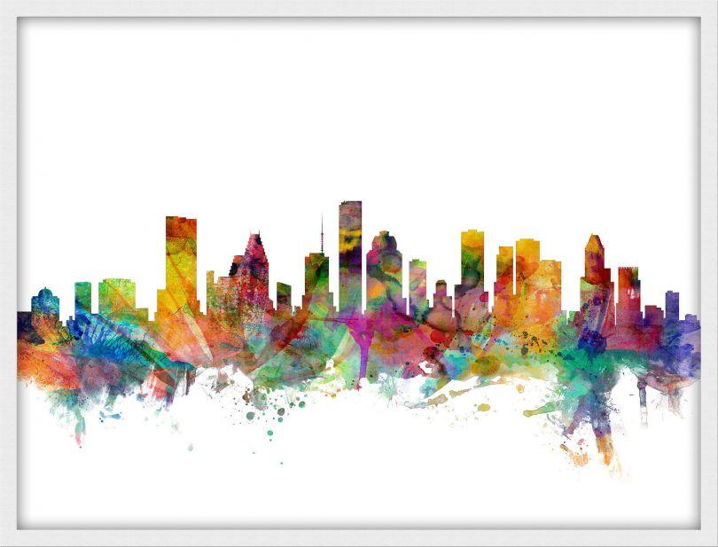 Small Houston Texas Watercolour Skyline (Pinboard & wood frame - White)