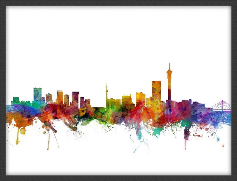 Medium Johannesburg South Africa Watercolour Skyline (Pinboard & wood frame - Black)