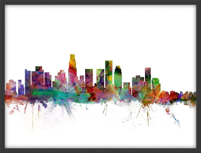 Small Los Angeles City Watercolour Skyline (Wood Frame - Black)