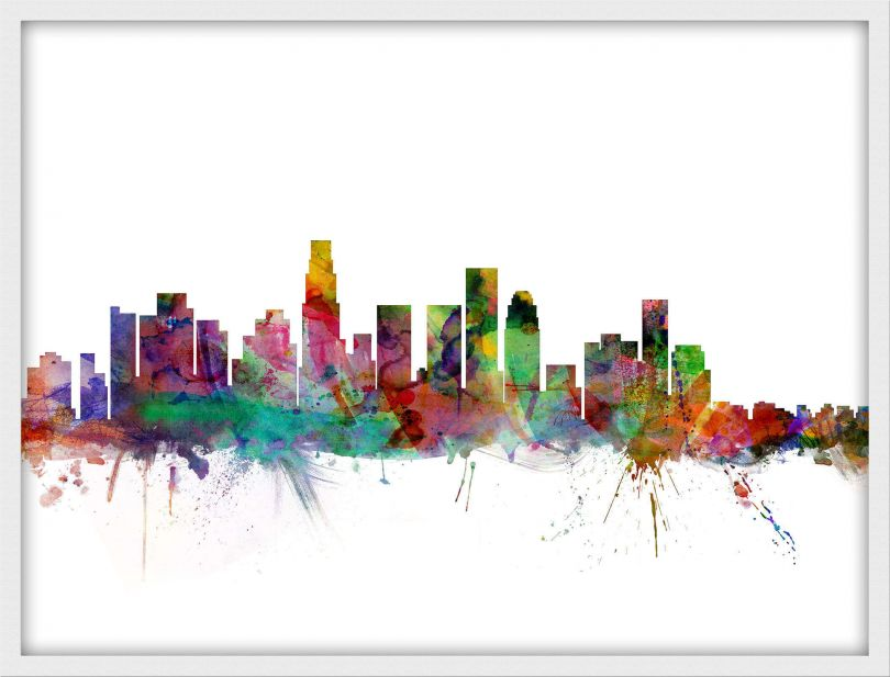 Small Los Angeles City Watercolour Skyline (Wood Frame - White)