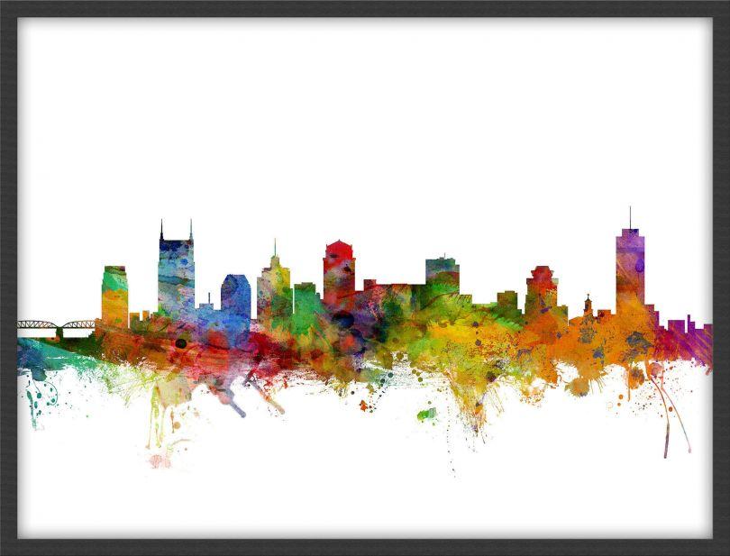 Small Nashville Tennessee Watercolour Skyline (Wood Frame - Black)