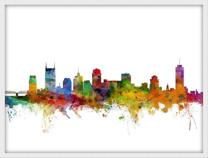 Small Nashville Tennessee Watercolour Skyline (Wood Frame - White)