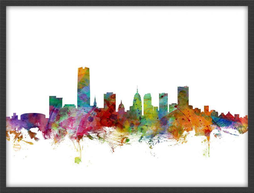 Medium Oklahoma City Watercolour Skyline (Pinboard & wood frame - Black)