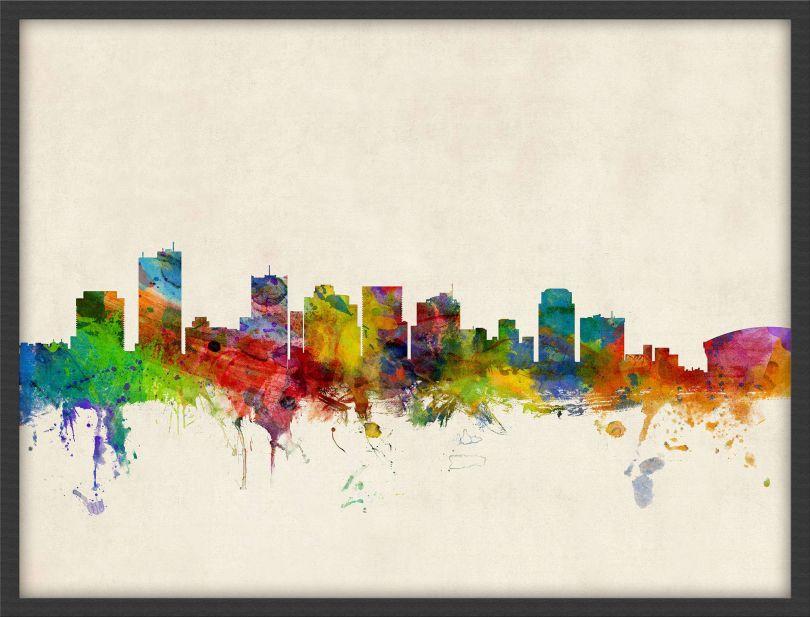 Medium Phoenix Arizona Watercolour Skyline (Pinboard & wood frame - Black)