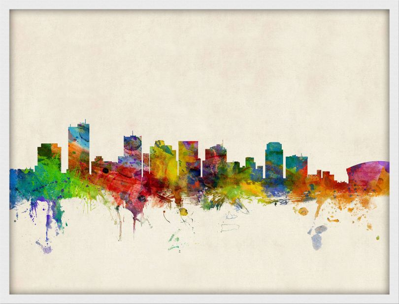 Medium Phoenix Arizona Watercolour Skyline (Pinboard & wood frame - White)
