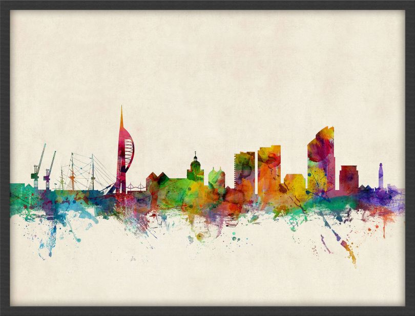 Medium Portsmouth England Watercolour Skyline (Pinboard & wood frame - Black)