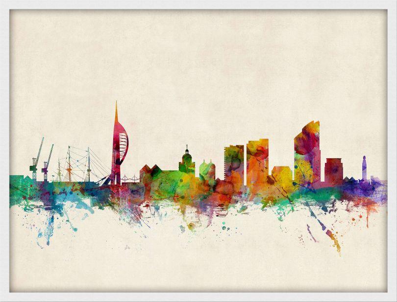 Medium Portsmouth England Watercolour Skyline (Pinboard & wood frame - White)
