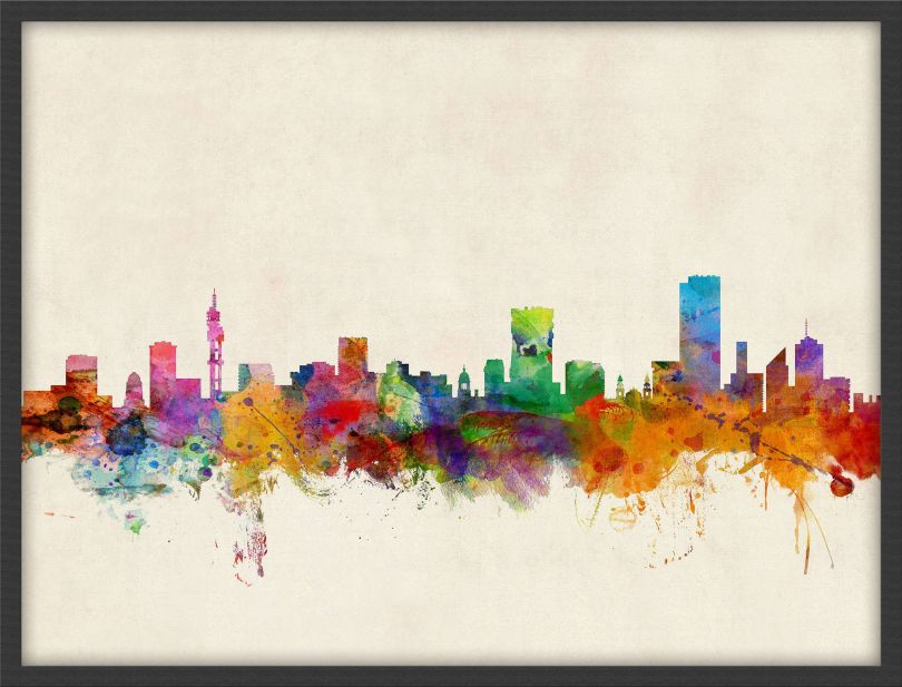 Medium Pretoria South Africa Watercolour Skyline (Wood Frame - Black)