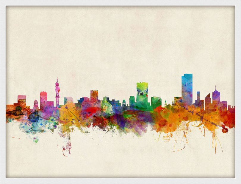 Small Pretoria South Africa Watercolour Skyline (Pinboard & wood frame - White)