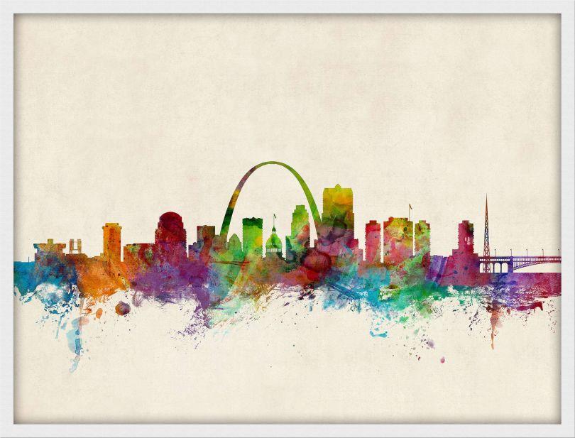 Medium St Louis Missouri Watercolour Skyline (Pinboard & wood frame - White)