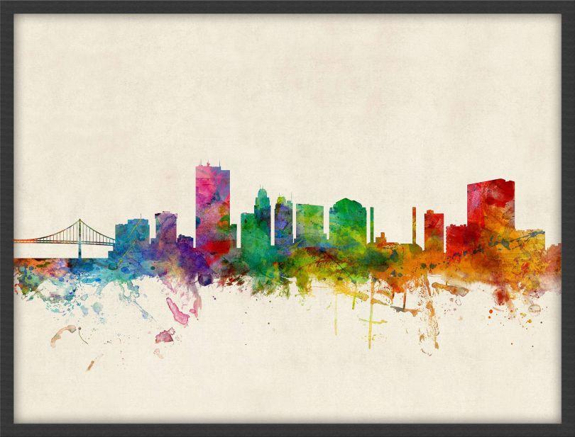 Medium Toledo Ohio Watercolour Skyline (Pinboard & wood frame - Black)