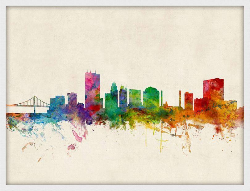 Medium Toledo Ohio Watercolour Skyline (Pinboard & wood frame - White)