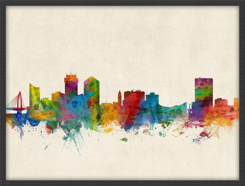 Small Wichita Kansas Watercolour Skyline (Wood Frame - Black)