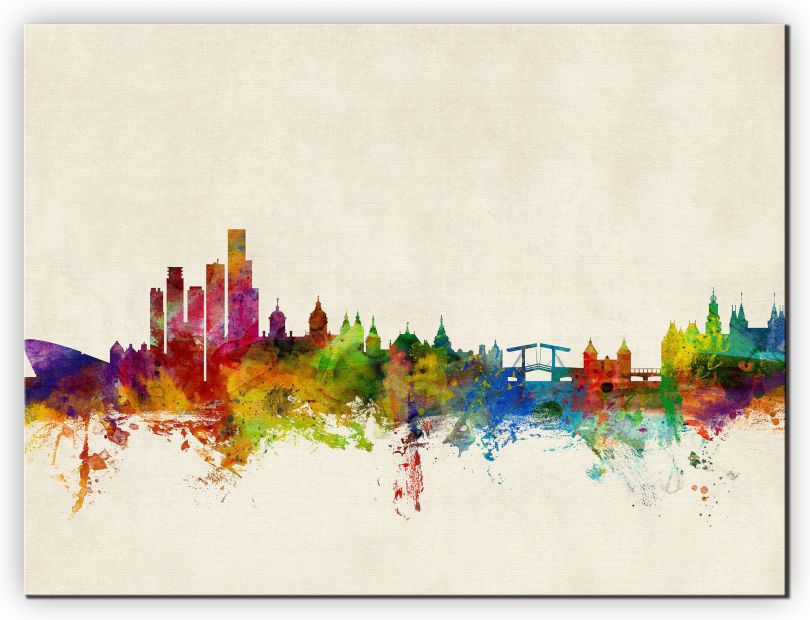 Medium Amsterdam The Netherlands Watercolour Skyline (Canvas)