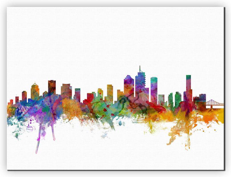 Extra Small Brisbane Australia Watercolour Skyline (Canvas)