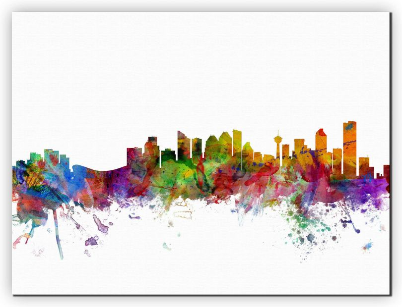 Medium Calgary Canada Watercolour Skyline (Canvas)
