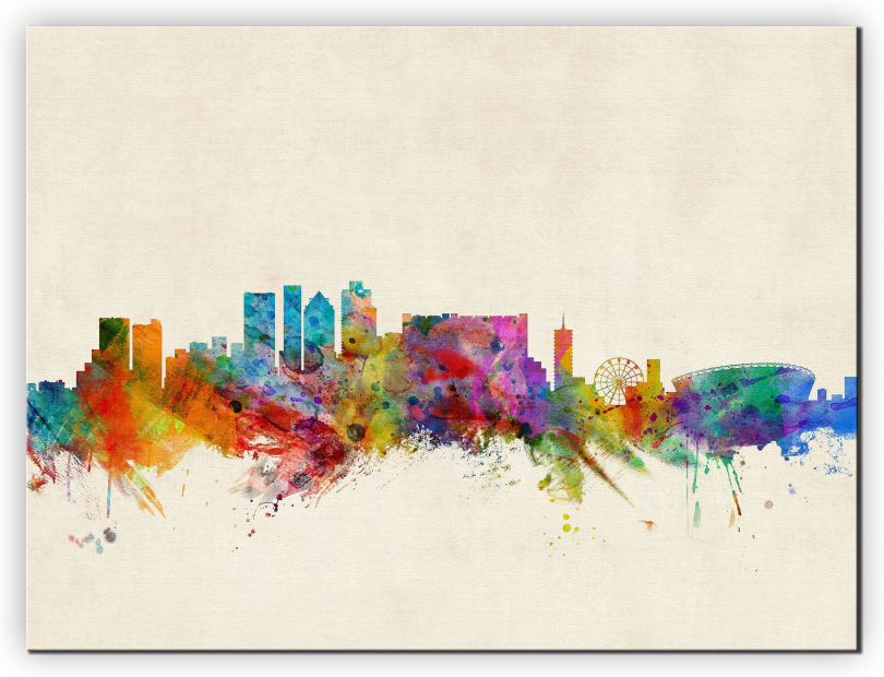 Medium Cape Town South Africa Watercolour Skyline (Canvas)