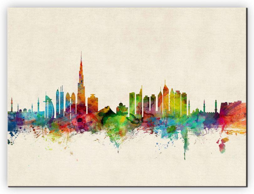 Huge Dubai Watercolour Skyline (Canvas)