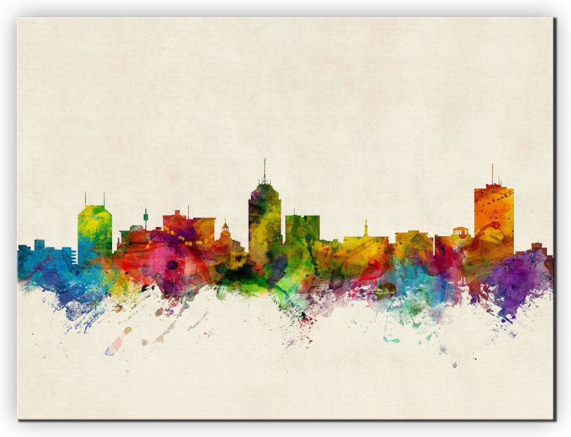 Small Fresno California Watercolour Skyline (Canvas)
