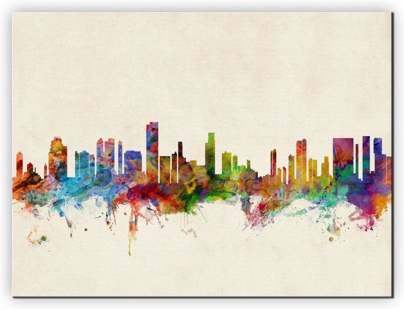 Huge Honolulu Hawaii Watercolour Skyline (Canvas)