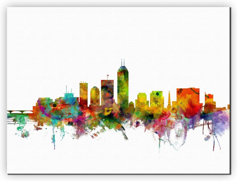 Huge Indianapolis Indiana Watercolour Skyline (Canvas)