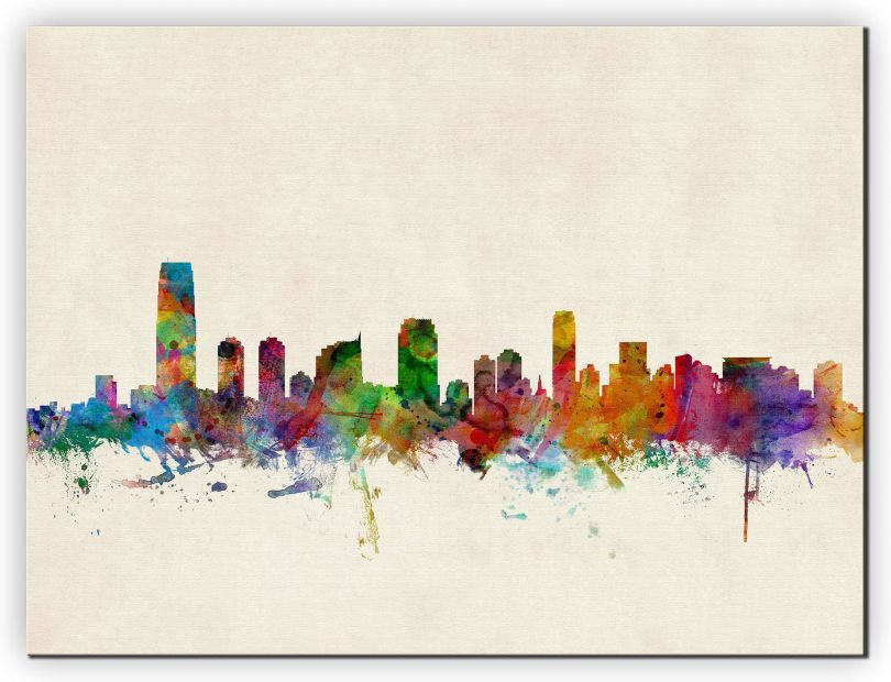 Small Jersey City New Jersey Watercolour Skyline (Canvas)
