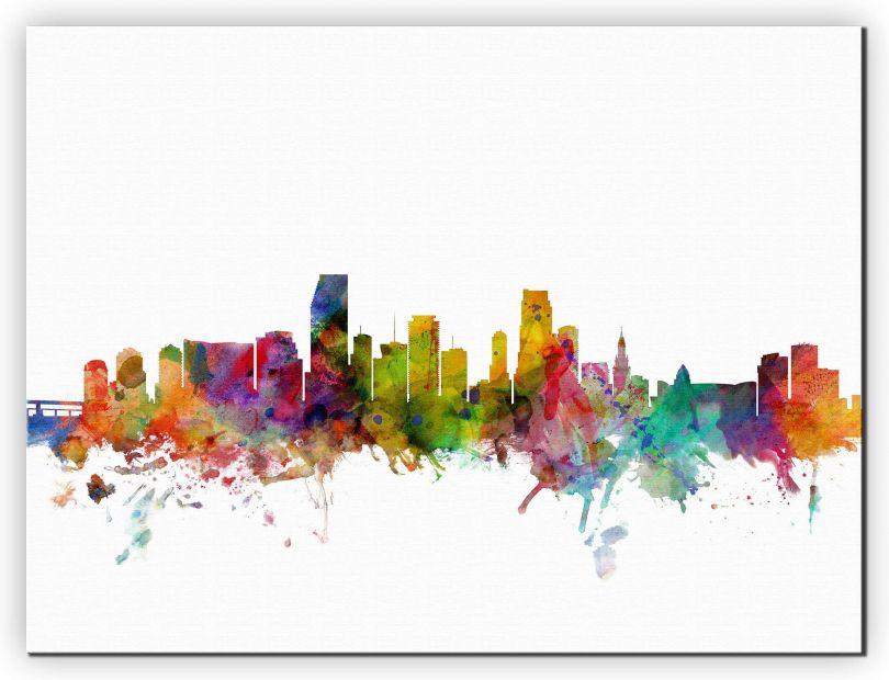 Small Miami Florida Watercolour Skyline (Canvas)
