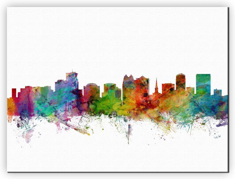 Small Orlando Florida Watercolour Skyline (Canvas)