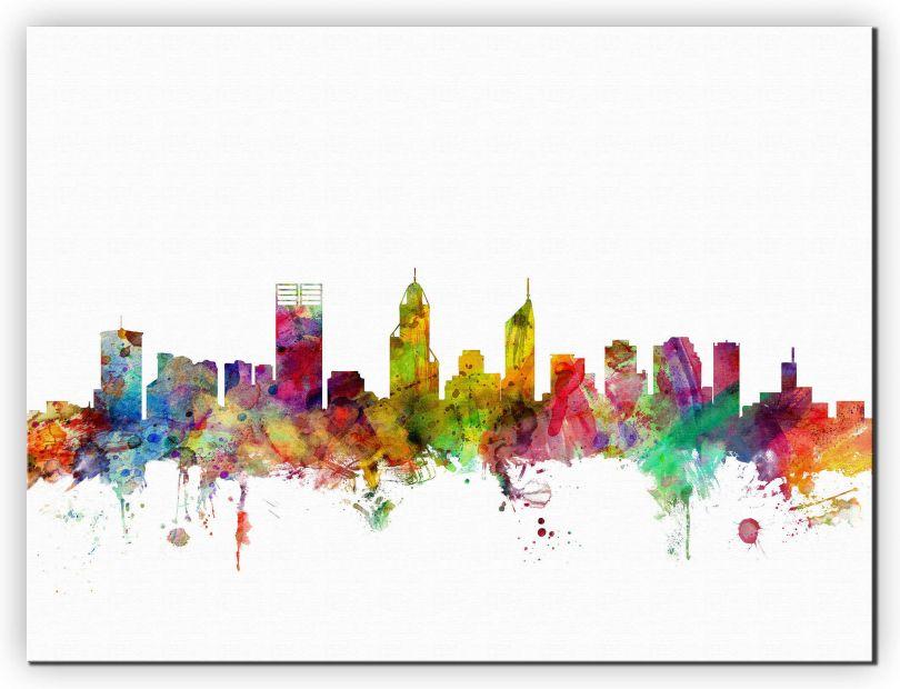 Small Perth Australia Watercolour Skyline (Canvas)