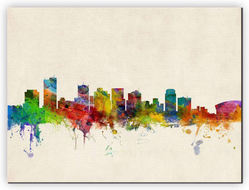 Small Phoenix Arizona Watercolour Skyline (Canvas)