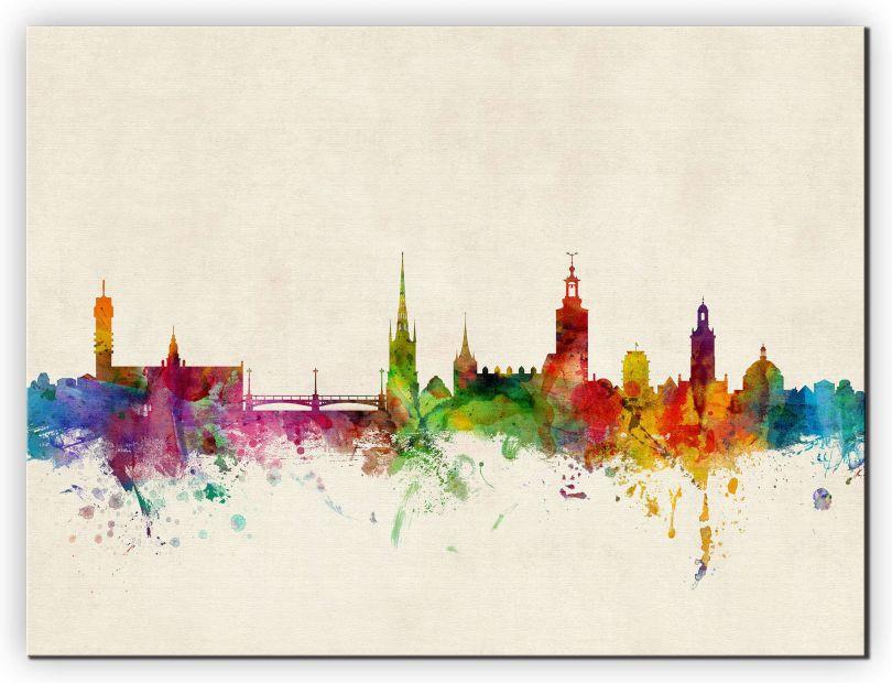 Medium Stockholm Sweden Watercolour Skyline (Canvas)