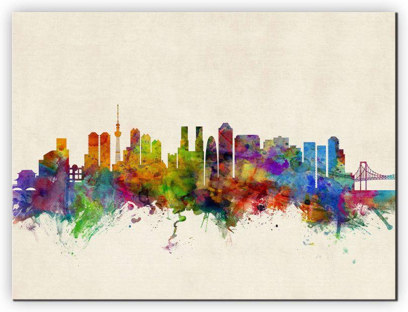 Small Tokyo Japan Watercolour Skyline (Canvas)