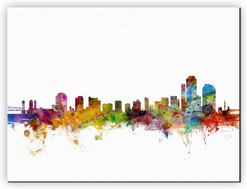 Extra Small Wilmington Delaware Watercolour Skyline (Canvas)