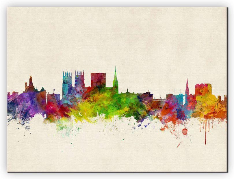Extra Small York England Watercolour Skyline (Canvas)