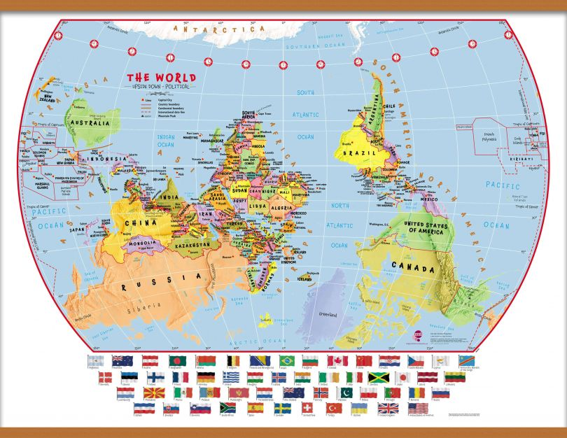 Huge Primary Upside Down World Wall Map Political with flags (Wooden hanging bars)