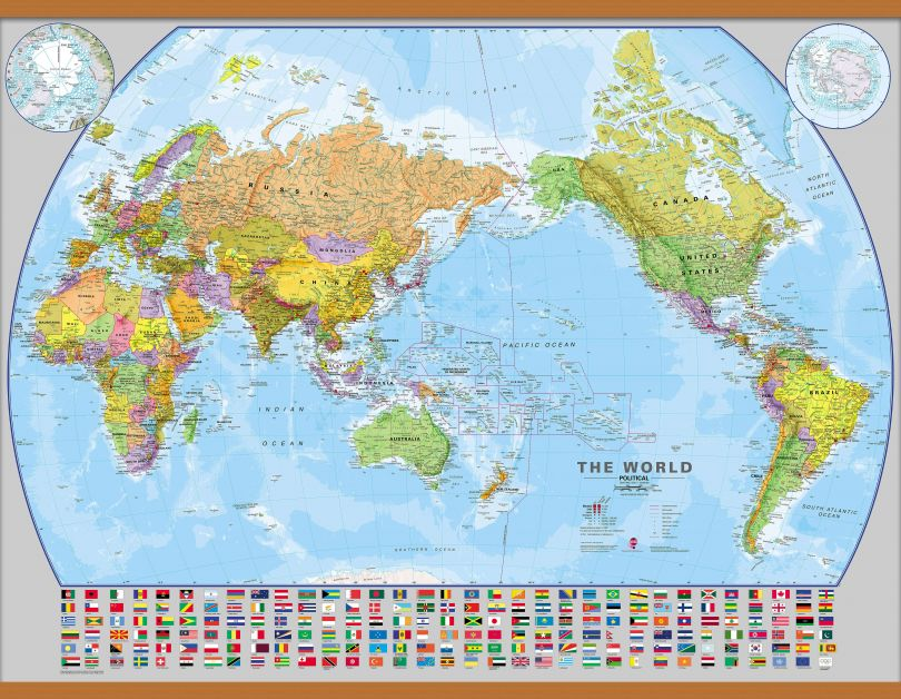 Huge World Pacific-centred Wall Map with flags (Wooden hanging bars)